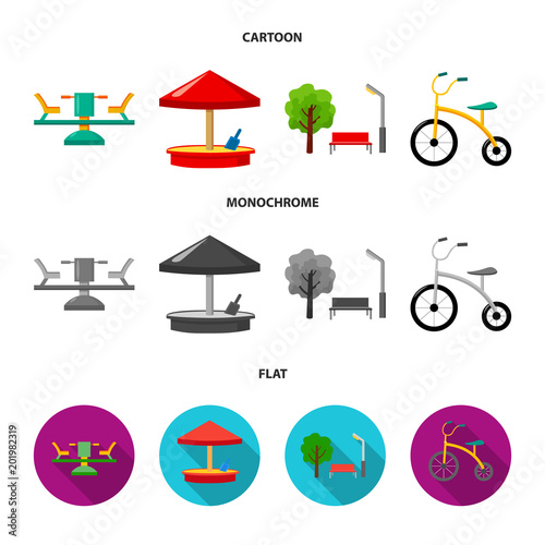 Carousel, sandbox, park, tricycle. Playground set collection icons in cartoon,flat,monochrome style vector symbol stock illustration web.