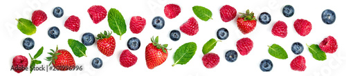 Fresh Berries mix isolated on white background. Berry ornament. Top view. - 201996996