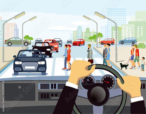Poster Autofahren in der Stadt