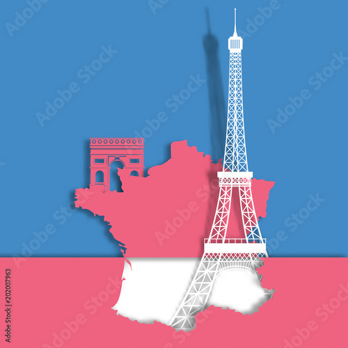 Eiffel tower and landmark on France Map paper cut style .candy color vector style.