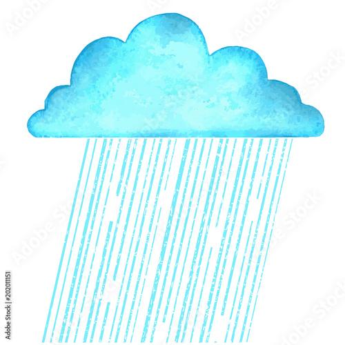 Plexiglas Turkoois Raining.Vector image with blue rain cloud in wet day on white