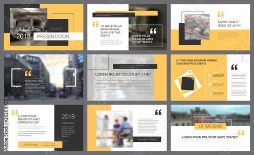 Żółte i czarne elementy projektu dla szablonów slajdów