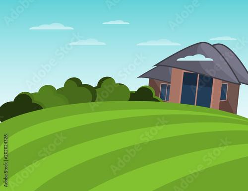 Plexiglas Boerderij Farmhouse and field. Peaceful landscape. Flat illustration.