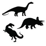 Triceratops, brontosaurus and tyrannosaurus silhouettes