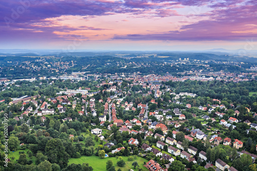 Sticker air view of Coburg town