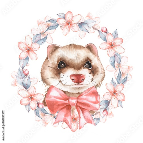 Cute ferret. Spring wreath. Watercolor illustration - 202033957