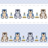 vector seamless baby pattern teddy bears, toys