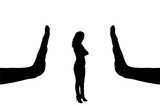 Vector silhouette of a female worker and gesture of a big hand stop - 202037508