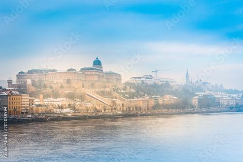 Piękny widok historyczny Royal Palace w Budapest, Węgry