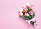Pink tulips bouquet on empty space background. - 202045340