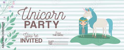 fairy with unicorn invitation card vector illustration design