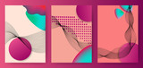 Colorful abstract posters, covers, templates with gradient circles, thin line smoke wave, fluid shape, halftone dots on pink background. Vector illustration. - 202049123