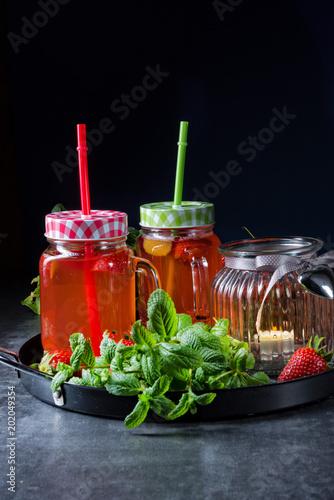 Foto Murales a fruit lemonade with strawberries rhubarb and mint