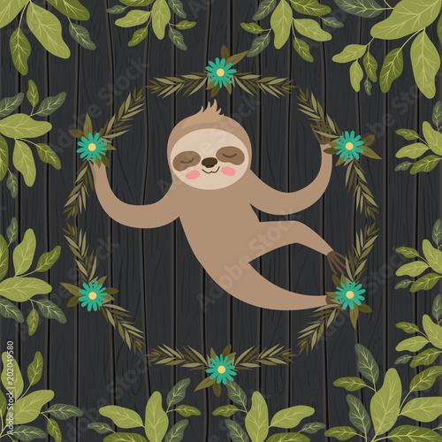 Aluminium Zoo sloth in the jungle scene vector illustration design