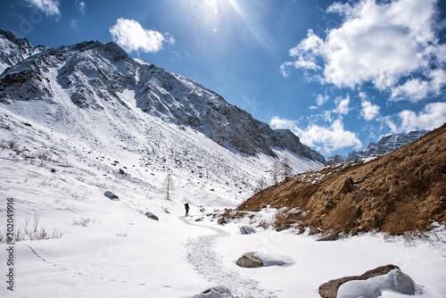 High mountains under snow in the winter © kuzenkova