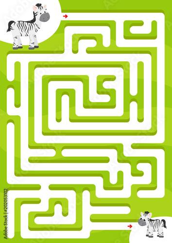 Fototapeta Help zebra find the son. Maze game for kids
