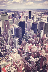 Vintage stylized aerial view of the Manhattan, New York City, USA.