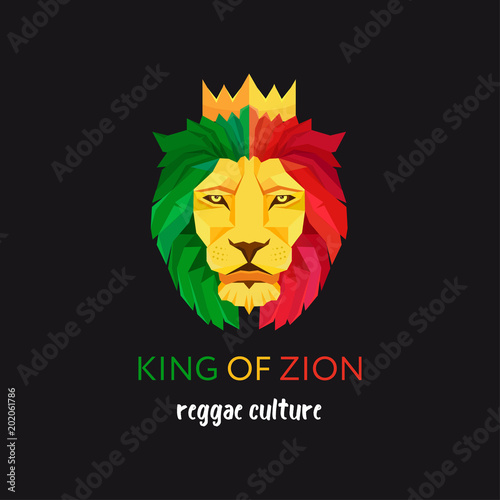 Fototapeta Lion head with crown. King of Zion. Symbol of the Rastafarian subculture. Flag colors of Jamaica.
