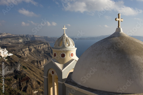 Plexiglas Santorini Santorini Thiera Kirche in Abendsonne