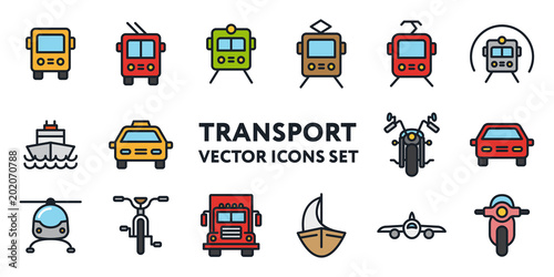 Wall mural Public Transport Signs. Flat Color Line Icon Set. Bus, Trolleybus, Tram, Car, Taxi, Bicycle, Motorcycle, Train, Metro, Helicopter, Moped, Scooter, Truck, Ship, Sailboat.