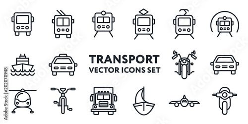 Fridge magnet Public Transport Signs. Flat Line Icon Set. Bus, Trolleybus, Tram, Car, Taxi, Bicycle, Motorcycle, Train, Metro, Helicopter, Moped, Scooter, Truck, Ship, Sailboat.