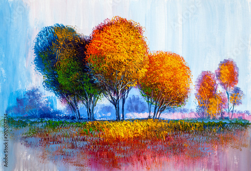Trees, oil painting, artistic background - 202074734