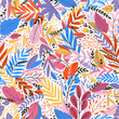 Vector colorful floral seamless pattern with exotik leaves - 202077172