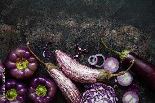 Set of purple vegetables on table