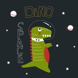 Childish print with dinosaur astronaut. Vector hand drawn illustration.