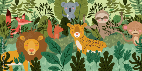 Plexiglas Zoo group of animals in the forest scene vector illustration design