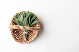 Directly above view of small bunch of sage in wicker basket on white background with copy space (selective focus) - 202101727