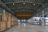 Large Warehouse interior inside a Factory building. Industry manufacturing concept - 202102983