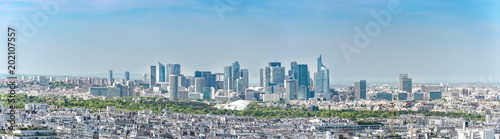 Panoramic aerial view of Le Defence. Le Defense is a; major business district of the Paris aire urbaine - 202107557