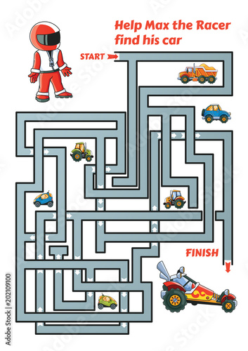 Fotobehang Auto Help Max the Racer find path to his car. Labyrinth. Maze game for kids
