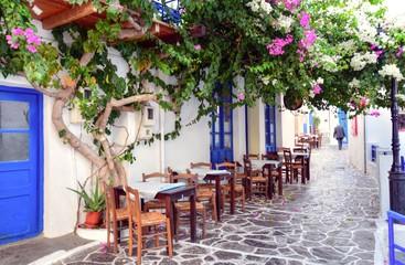 A street view from Plaka village in Milos Island, Greece