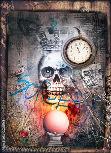 Canvas Imagination Teschio gotico con corona e sfera di cristallo