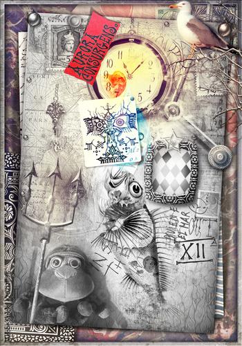 Canvas Imagination Stanza misteriosa e macabra con pupazzo, graffiti e orologio