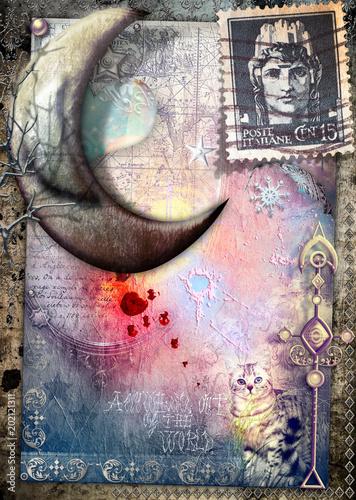 Canvas Imagination Luna delle fiabe su sfondo vecchia maniera, gatto misterioso e vecchi francobolli