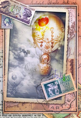 Canvas Imagination Cartolina vintage con volo di mongolfiere e vecchi itinerari