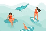 Hand drawn vector abstract cartoon graphic summer time funny illustrations poster with surfer girls in red bikini with dog isolated on blue ocean waves textured background - 202132384