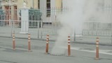 Steam from a broken sewer utility line at winter city - 202152744
