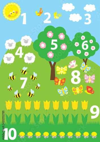 Educational poster for preschools/ kindergartens with numbers 1-10