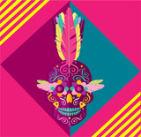 Punk skull icon with feathers Mohawks, vector illustration  - 202152905