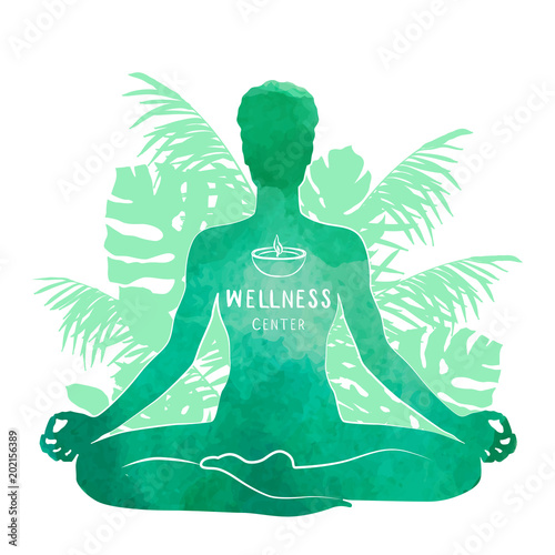 Poster Practicing yoga, relaxation and meditation concept. Watercolor Silhouette