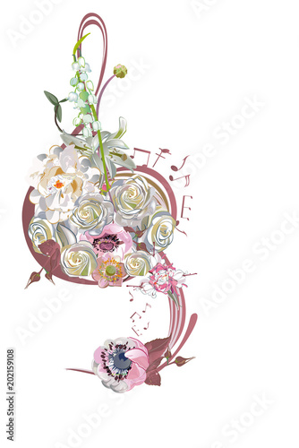 Fotobehang Muziek Abstract treble clef decorated with summer and spring flowers, notes. Hand drawn vector illustration.