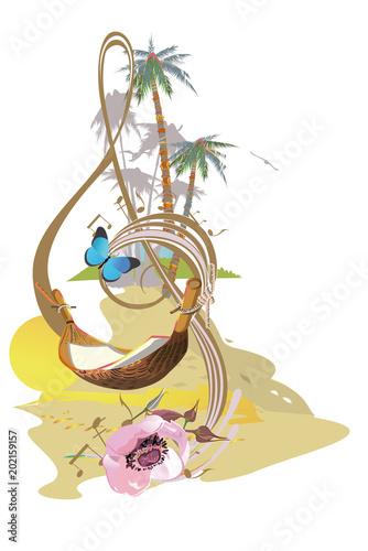 abstrakter-violinschlussel-verziert-mit-sommer-und-fruhlingsblumen-palmblatter-anmerkungen-hand-gezeichneter-vektor