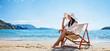 Quadro Woman Enjoying Sunbathing at Beach