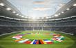 Leinwanddruck Bild - Stadion mit Länderflaggen 2