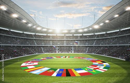 Leinwanddruck Bild Stadion mit Länderflaggen 2