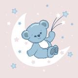 Cute Teddy Bear on the moon. Sweet dreams vector illustration.